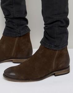 Коричневые замшевые ботинки челси с двумя молниями ASOS - Коричневый