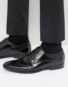 Блестящие кожаные броги Base London Harold - Черный