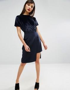Мини-юбка с запахом и пуговицами ASOS - Темно-синий