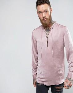 Длинная атласная рубашка с завязками ASOS - Розовый