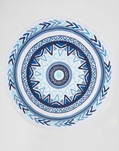 Круглое пляжное полотенце в виде солнечных часов Soleil - Синий