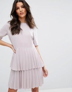 Платье с плиссированной юбкой Y.A.S Julia - Фиолетовый