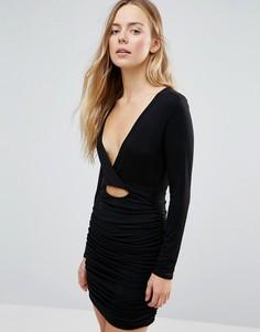 Облегающее платье с V-образным вырезом и оборкой Daisy Street - Черный