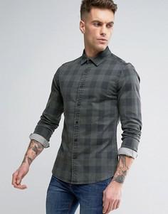 Приталенная джинсовая рубашка в клетку ASOS - Зеленый