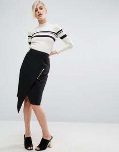 Креповая юбка-карандаш с запахом и молнией ASOS - Черный