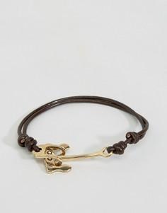 Черно-золотистый браслет с якорем Icon Brand Alton - Черный