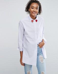 Рубашка в полоску с сердечками на воротнике ASOS - Мульти