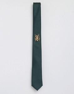 Зеленый фактурный галстук и булавка для галстука ASOS - Зеленый