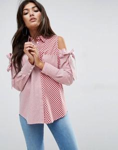 Рубашка в полоску и клетку с вырезами на плечах ASOS - Мульти