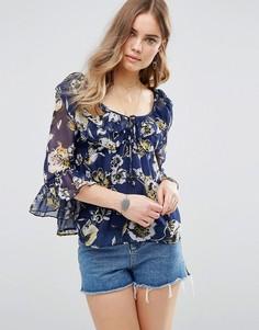 Блузка с цветочным принтом Band Of Gypsies - Темно-синий