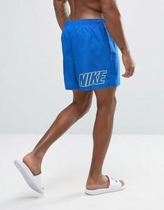 Синие шорты для плавания с принтом логотипа сзади Nike - Синий