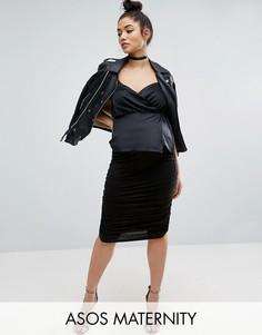 Юбка-карандаш со сборками по бокам для беременных ASOS Maternity - Черный