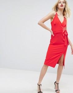 Платье миди с запахом и завязкой ASOS - Красный