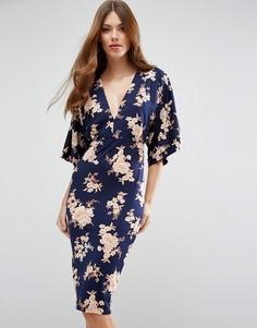Платье-кимоно миди с цветочным принтом ASOS - Мульти