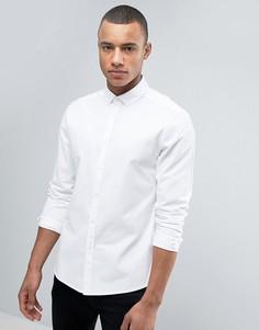 Белая эластичная рубашка слим из саржи ASOS - Белый