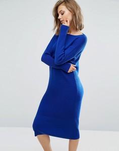 Трикотажное платье миди в рубчик ASOS - Синий