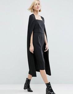 Фактурное платье миди с кейпом ASOS WHITE - Черный