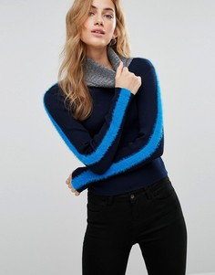 Пушистый джемпер в стиле колор блок New Look - Синий