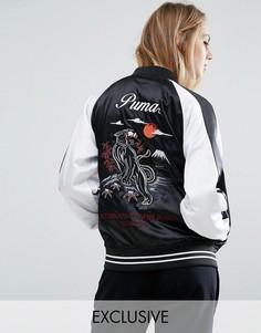 Черная атласная сувенирная куртка Puma - Черный
