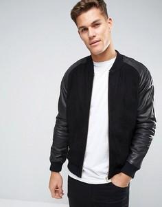 Черная замшевая куртка-пилот с кожаными рукавами ASOS - Черный