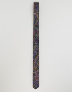 Узкий галстук с принтом пейсли ASOS - Черный