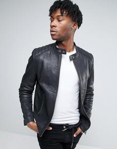 Черная кожаная байкерская куртка со стеганой отделкой ASOS - Черный