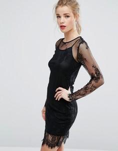 Облегающее платье из прозрачного кружева New Look - Черный