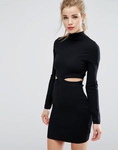 Платье-джемпер с вырезом New Look - Черный