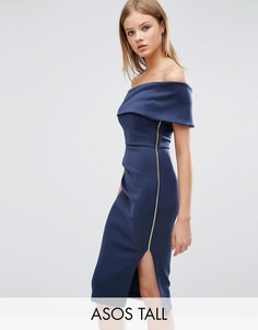 Платье миди на одно плечо и запахом на юбке ASOS TALL - Темно-синий