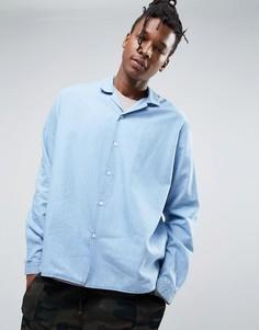 Голубая джинсовая рубашка с воротником в стиле ретро ASOS - Синий