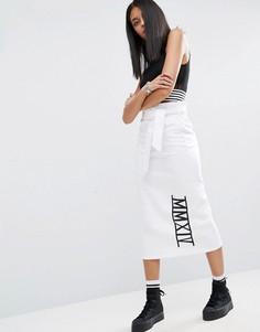 Трикотажная юбка-карандаш с надписью ASOS - Белый
