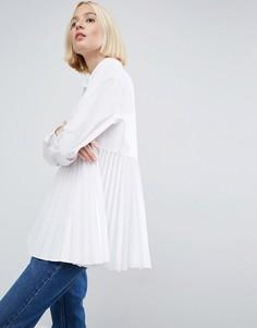 Oversize-рубашка с плиссировкой ASOS WHITE - Белый