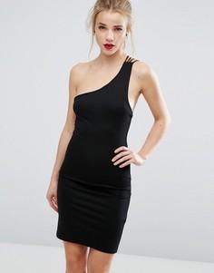 Облегающее платье на одно плечо New Look - Черный