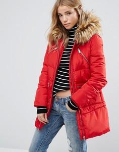 Дутая куртка с искусственным мехом на капюшоне New Look - Красный