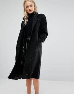 Пальто с отделкой звездочками Newlily - Черный