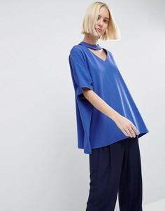 Oversize-футболка с V-образным вырезом ASOS WHITE - Синий