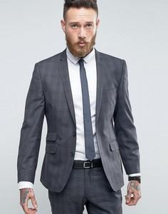 Серый узкий пиджак в клетку Ben Sherman - Серый