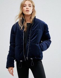 Бархатная дутая куртка New Look - Темно-синий
