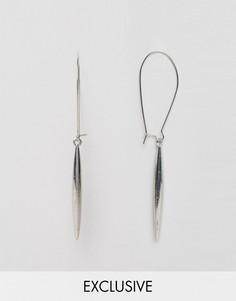 Серьги-кольца с подвесками-шипами DesignB London - Серебряный