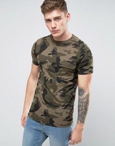 Камуфляжная футболка с карманом Liquor & Poker - Зеленый