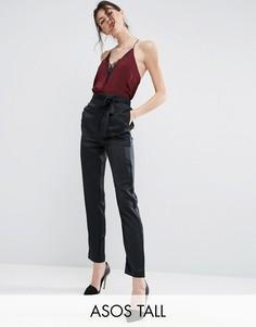 Атласные брюки-галифе с завязкой сбоку ASOS TALL Premium - Черный