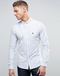 Голубая рубашка скинни в полоску с логотипом ASOS - Синий
