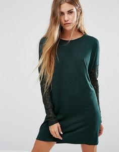 Вязаное платье-джемпер с кружевными рукавами JDY - Зеленый