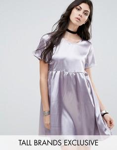 Атласное короткое приталенное платье со складками Glamorous Tall - Серебряный