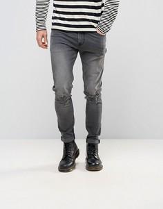 Темно-серые джинсы скинни с рваными коленями ASOS - Серый
