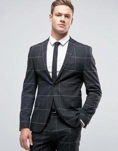 Суперузкий пиджак в решетчатую клетку Selected Homme - Серый