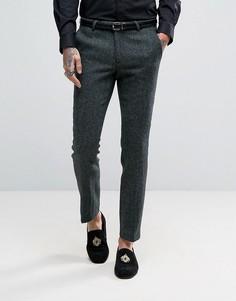 Суперузкие брюки из твида Харрис Noose & Monkey - Зеленый