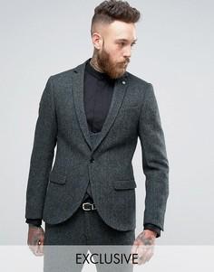 Супероблегающий пиджак из твида Харрис Noose & Monkey - Зеленый