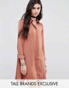 Атласное платье-рубашка Glamorous Tall - Оранжевый