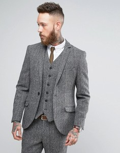 Суперузкий пиджак из твида Харрис Heart & Dagger - Серый